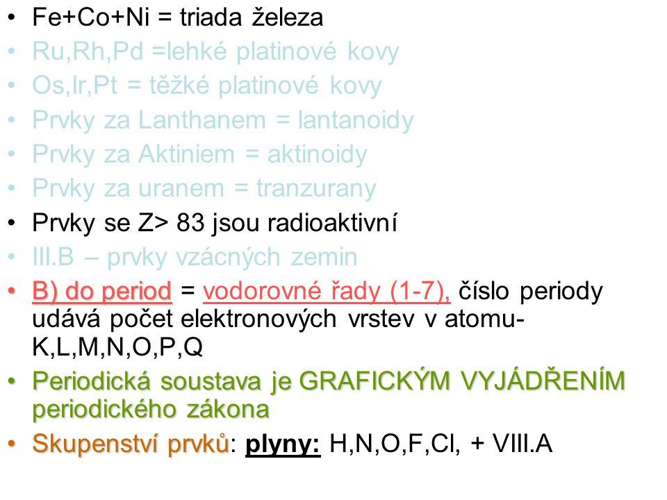 Fe+Co+Ni = triada železa Ru,Rh,Pd =lehké platinové kovy Os,Ir,Pt = těžké platinové kovy Prvky za Lanthanem = lantanoidy Prvky za Aktiniem = aktinoidy