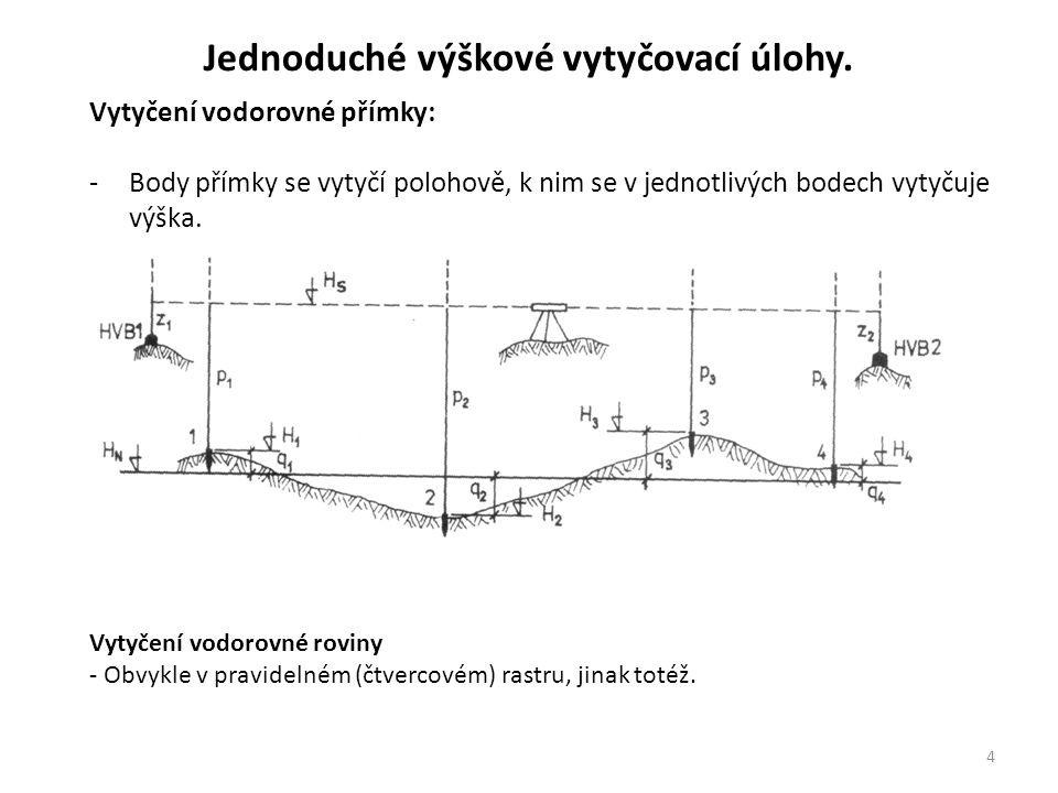 4 Jednoduché výškové vytyčovací úlohy. Vytyčení vodorovné přímky: -Body přímky se vytyčí polohově, k nim se v jednotlivých bodech vytyčuje výška. Vyty