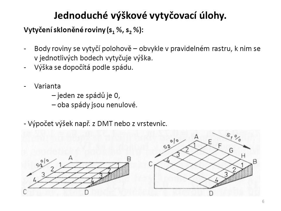 6 Jednoduché výškové vytyčovací úlohy. Vytyčení skloněné roviny (s 1 %, s 2 %): -Body roviny se vytyčí polohově – obvykle v pravidelném rastru, k nim