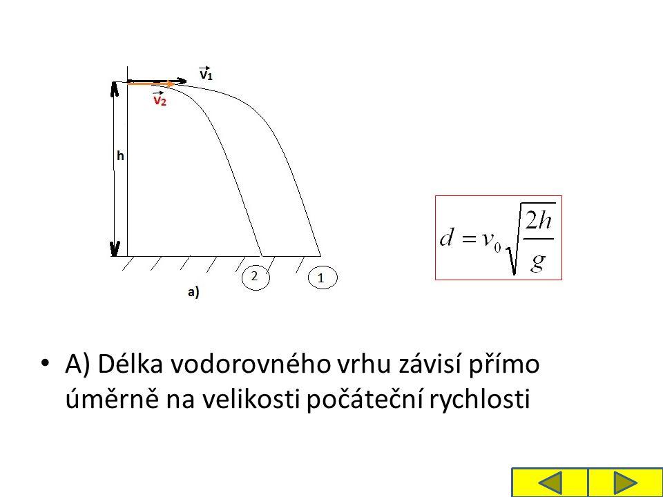 B) Délka vodorovného vrhu závisí přímo úměrně na 2. odmocnině výšky h, ze které je těleso vrženo.