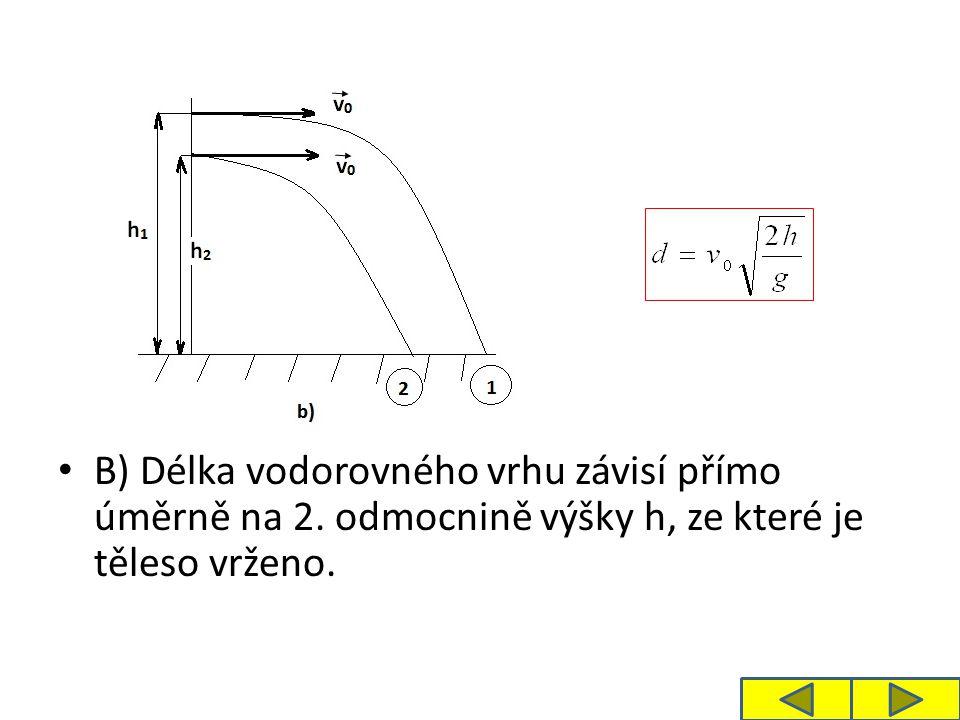 Úloha 2: Sami přemýšlejte o délce vodorovného vrhu v závislosti na zeměpisné poloze místa vrhu na zemském povrchu.