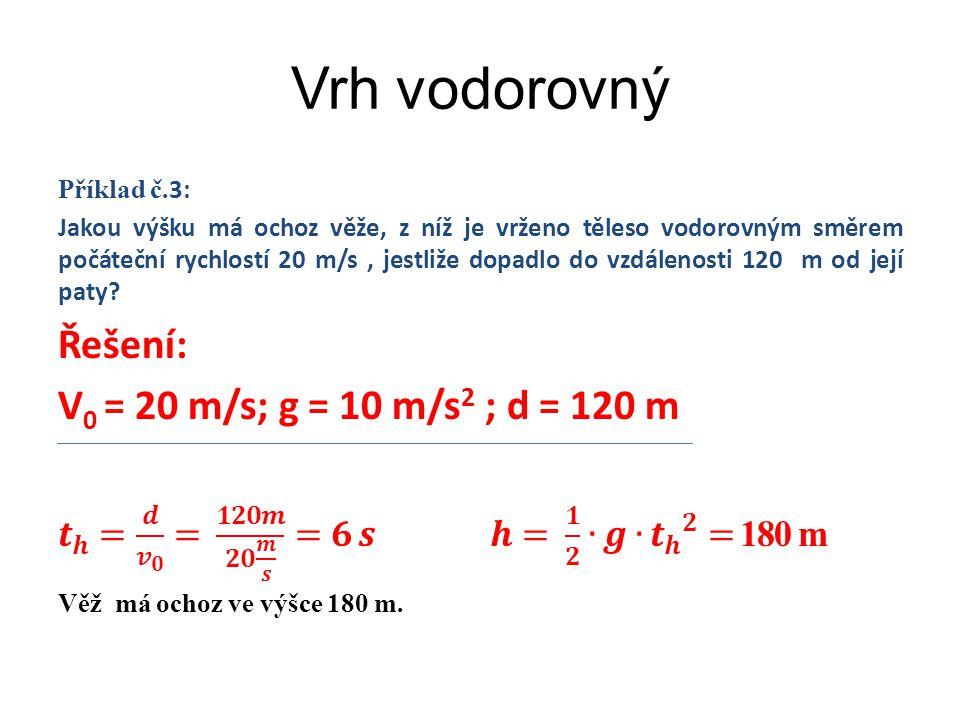 Vrh šikmý Příklad č.4: Do jaké vzdálenosti dopadne kopací míč, který fotbalista vykopl rychlostí 32 m/s pod úhlem 30˚ ?