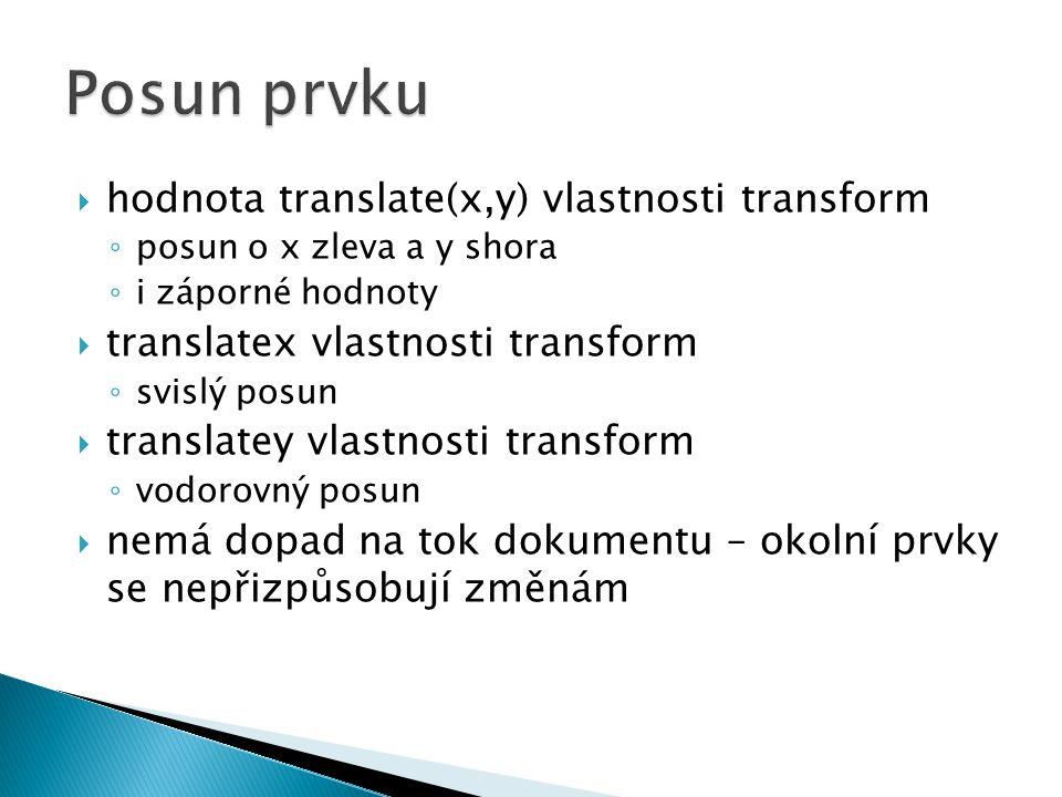 můžeme definovat jednotlivé dílčí vlastnosti nebo zkrácený zápis: ◦ transition: color 5s ease 1s;  totožný s: ◦ transition-property: color; ◦ transition-duration: 5s; ◦ transition-timing-function: ease; ◦ transition-delay: 1s;