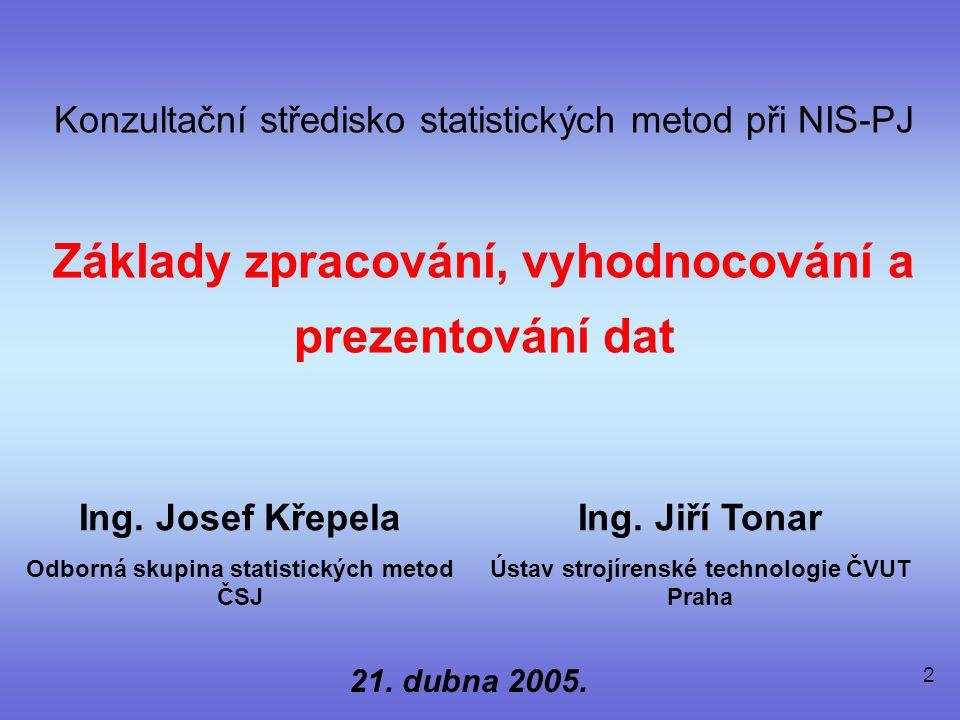 2 Konzultační středisko statistických metod při NIS-PJ Základy zpracování, vyhodnocování a prezentování dat Ing.