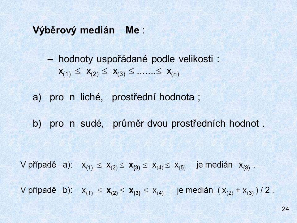 24 Výběrový medián Me : – hodnoty uspořádané podle velikosti : x (1)  x (2)  x (3) .......