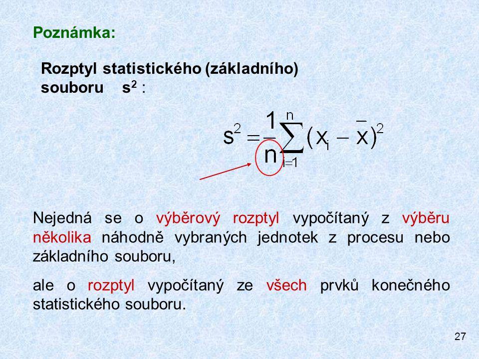 27 Rozptyl statistického (základního) souboru s 2 : Poznámka: Nejedná se o výběrový rozptyl vypočítaný z výběru několika náhodně vybraných jednotek z procesu nebo základního souboru, ale o rozptyl vypočítaný ze všech prvků konečného statistického souboru.