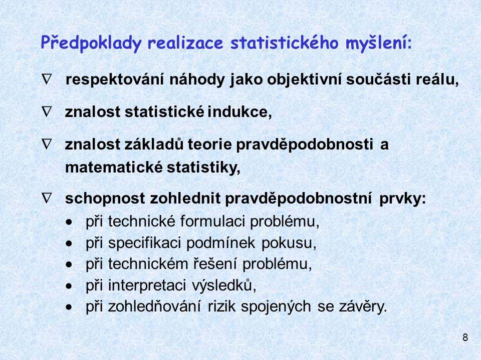 9 Statistického myšlení v praxi vyžaduje :  jasné vymezení problému, který má být řešen;  stanovení rozhodující veličiny – jakostní vlastnosti a způsobu jejího zjišťování ;  zabezpečení stálých podmínek při jejím zjišťování;  uvědomění si, že výsledky měření vykazují jistou (často jen částečně odstranitelnou) variabilitu; {rozdíl mezi náhodnými a zvláštními – vymezitelnými - příčinami proměnlivosti} ;  vytváření podskupin homogenních výsledků, zahrnujících pouze náhodnou proměnlivost ;  respektovat náhodné odebírání jednotek do náhodných výběrů, tak aby každá jednotka v souboru měla stejnou pravděpodobnost, že může být vybrána do výběru;