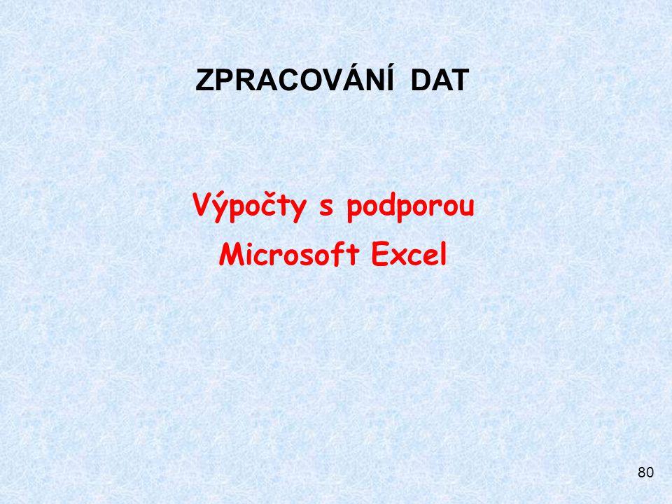80 ZPRACOVÁNÍ DAT Výpočty s podporou Microsoft Excel
