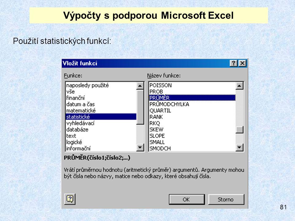 81 Výpočty s podporou Microsoft Excel Použití statistických funkcí: