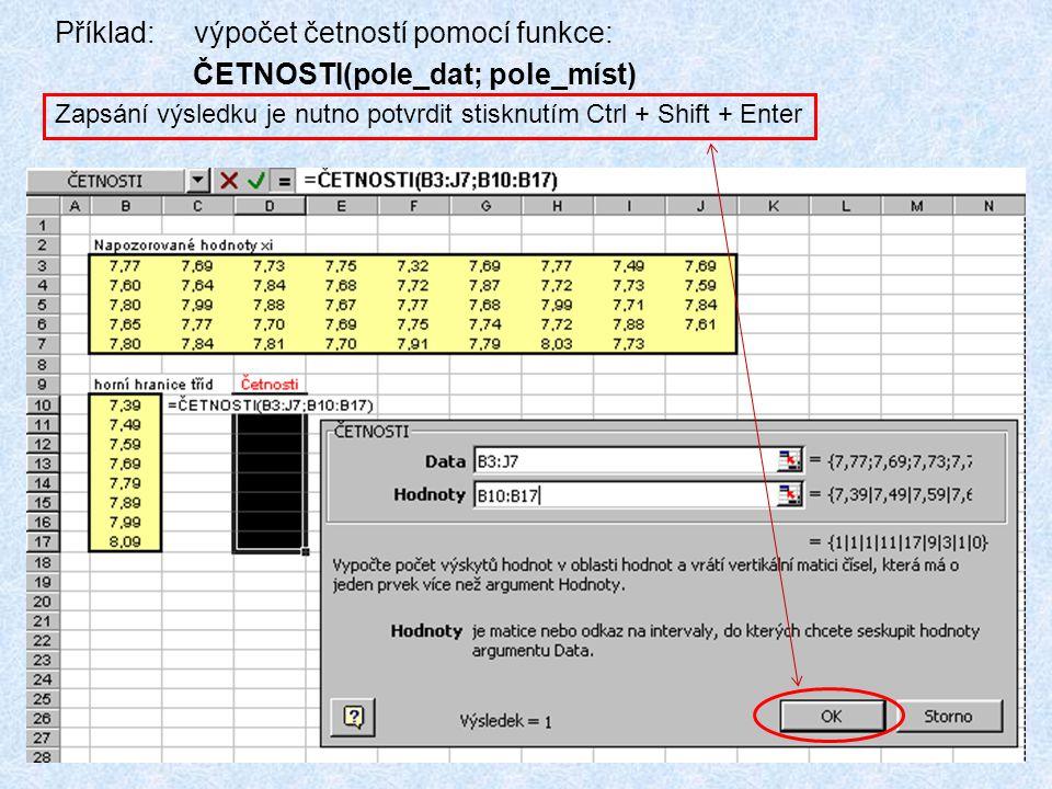89 Příklad: výpočet četností pomocí funkce: ČETNOSTI(pole_dat; pole_míst) Zapsání výsledku je nutno potvrdit stisknutím Ctrl + Shift + Enter