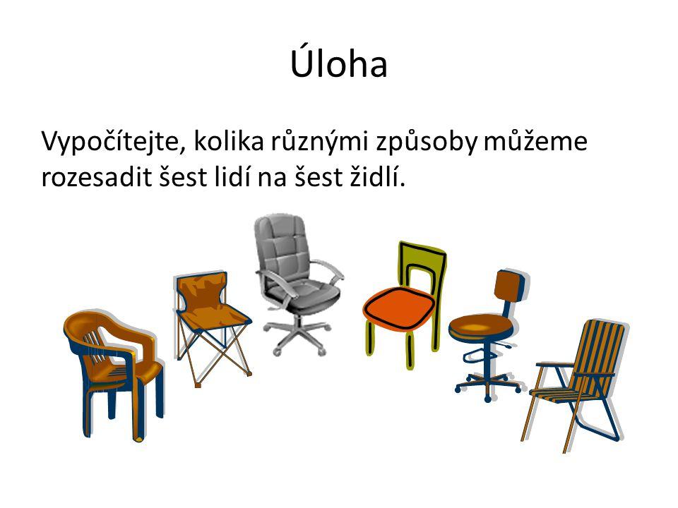 Úloha Vypočítejte, kolika různými způsoby můžeme rozesadit šest lidí na šest židlí.