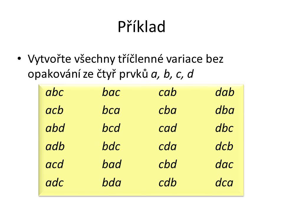 Příklad Vytvořte všechny tříčlenné variace bez opakování ze čtyř prvků a, b, c, d abcbaccabdab acbbcacbadba abdbcdcaddbc adbbdccdadcb acdbadcbddac adc