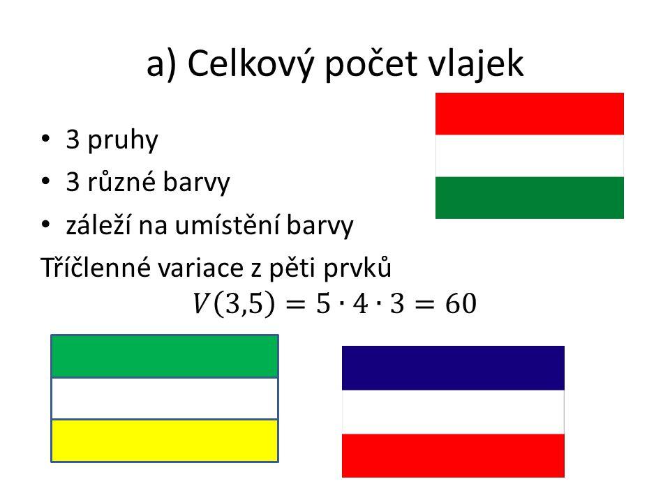 b) Vlajky s modrým pruhem