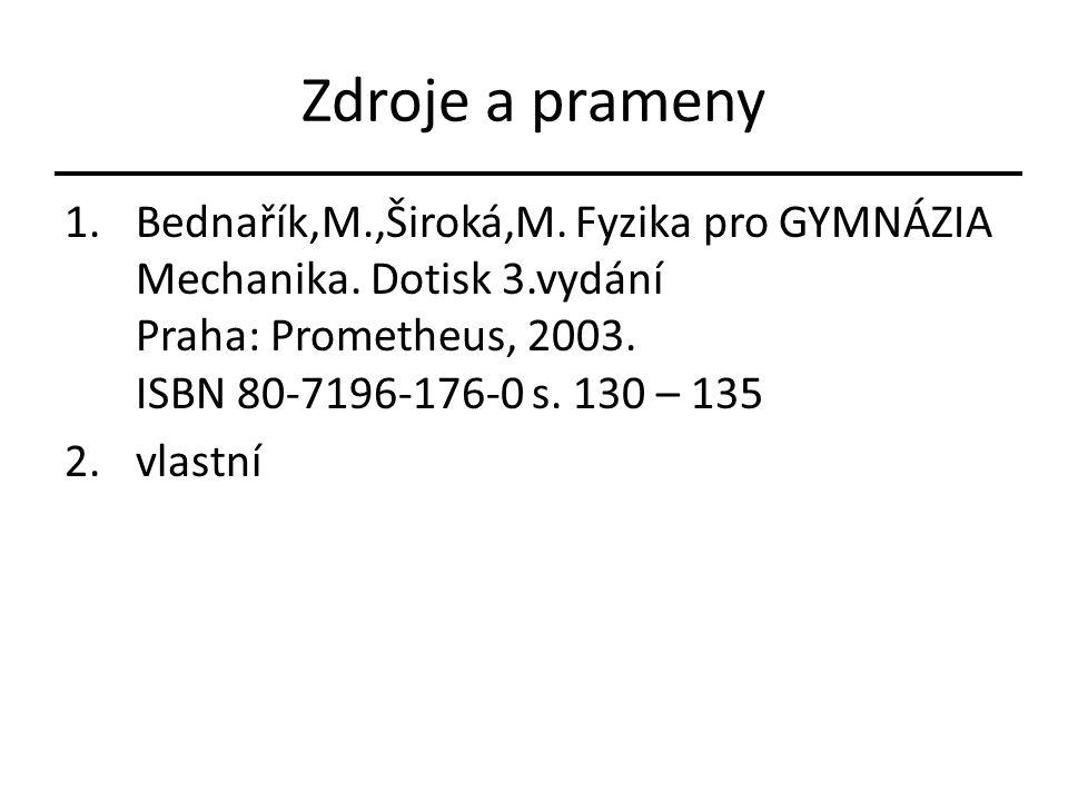 Zdroje a prameny 1.Bednařík,M.,Široká,M. Fyzika pro GYMNÁZIA Mechanika. Dotisk 3.vydání Praha: Prometheus, 2003. ISBN 80-7196-176-0 s. 130 – 135 2.vla