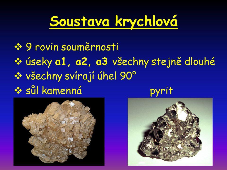 Soustava krychlová  9 rovin souměrnosti  úseky a1, a2, a3 všechny stejně dlouhé  všechny svírají úhel 90°  sůl kamennápyrit