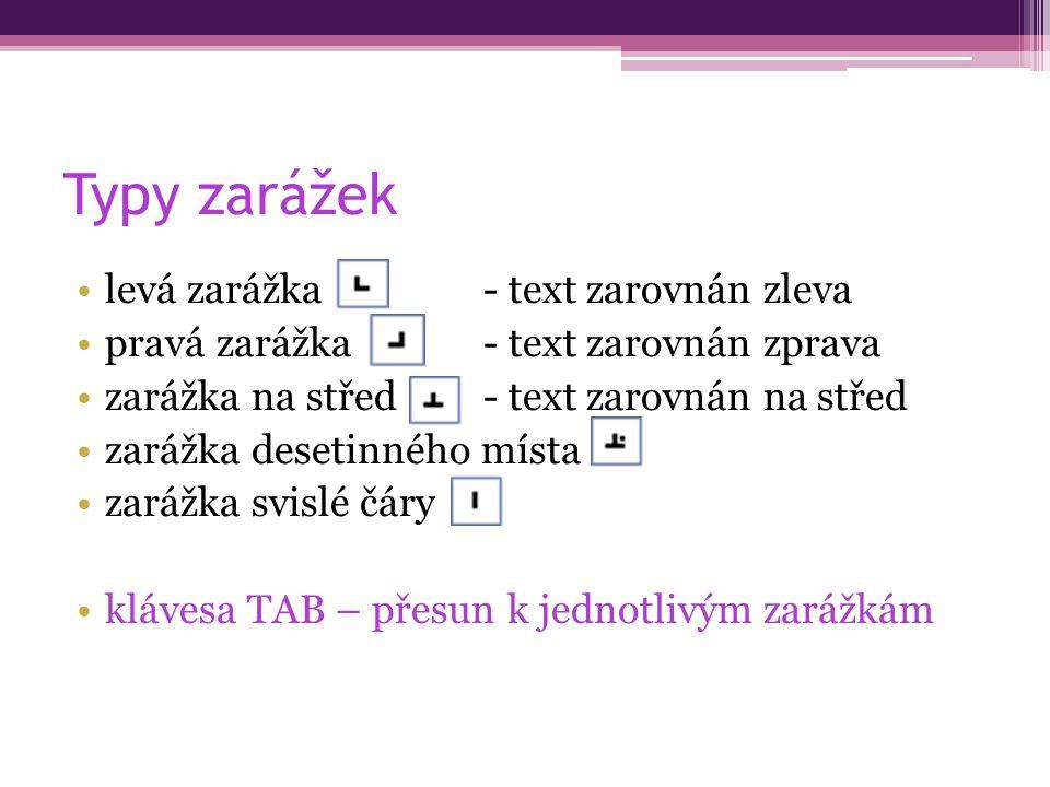 Typy zarážek levá zarážka - text zarovnán zleva pravá zarážka- text zarovnán zprava zarážka na střed- text zarovnán na střed zarážka desetinného místa zarážka svislé čáry klávesa TAB – přesun k jednotlivým zarážkám