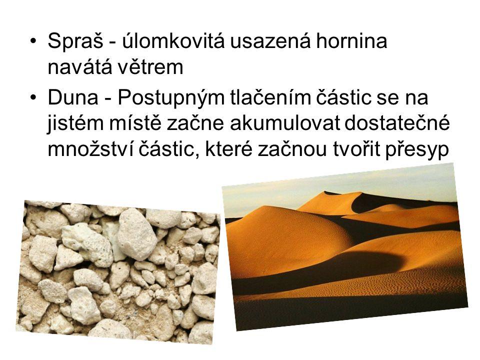 Spraš - úlomkovitá usazená hornina navátá větrem Duna - Postupným tlačením částic se na jistém místě začne akumulovat dostatečné množství částic, kter