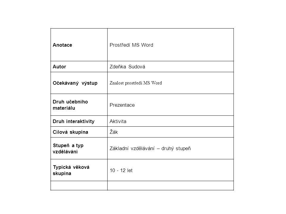 AnotaceProstředí MS Word AutorZdeňka Sudová Očekávaný výstup Znalost prostředí MS Word Druh učebního materiálu Prezentace Druh interaktivityAktivita Cílová skupinaŽák Stupeň a typ vzdělávání Základní vzdělávání – druhý stupeň Typická věková skupina 10 - 12 let