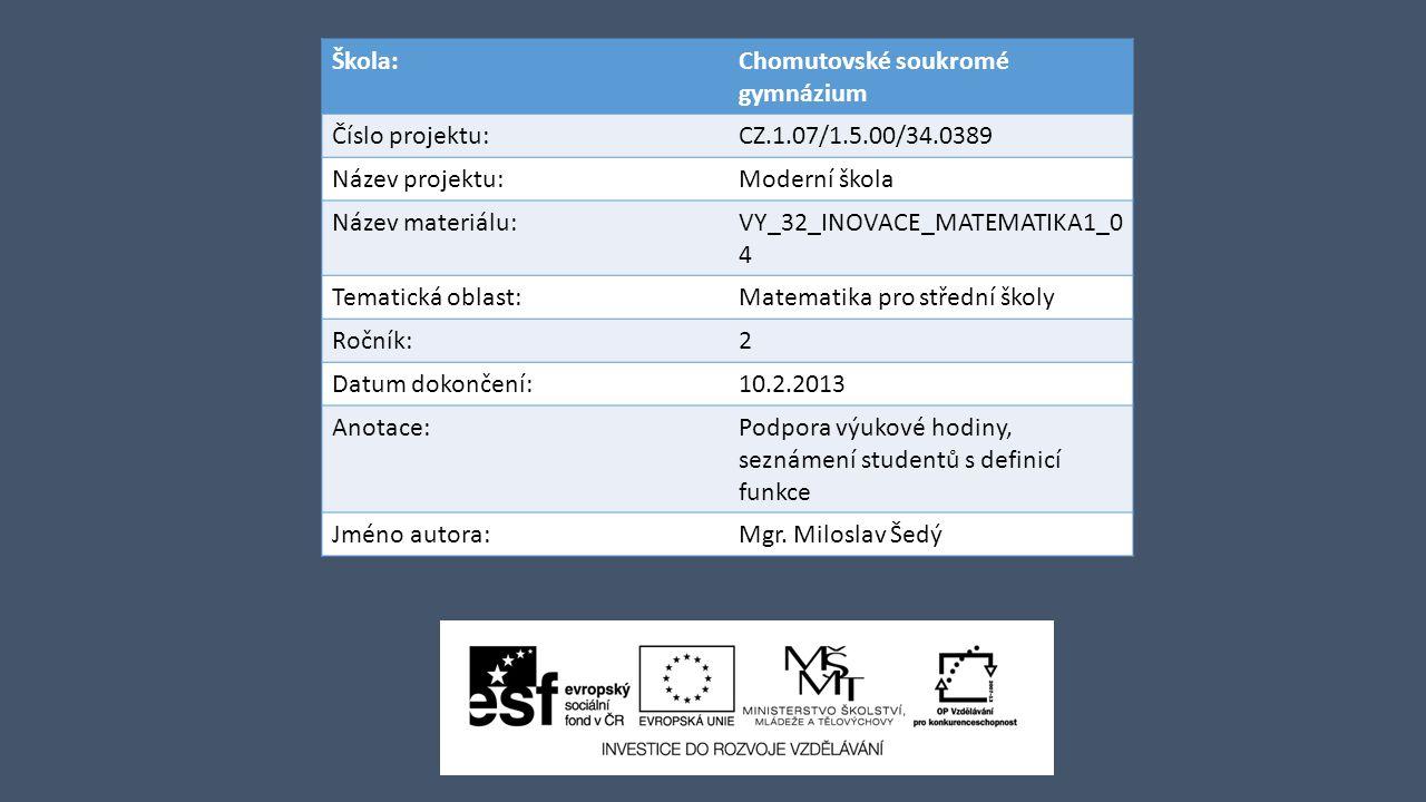Škola:Chomutovské soukromé gymnázium Číslo projektu:CZ.1.07/1.5.00/34.0389 Název projektu:Moderní škola Název materiálu:VY_32_INOVACE_MATEMATIKA1_0 4