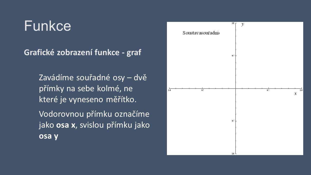 Grafické zobrazení funkce - graf Zavádíme souřadné osy – dvě přímky na sebe kolmé, ne které je vyneseno měřítko. Vodorovnou přímku označíme jako osa x