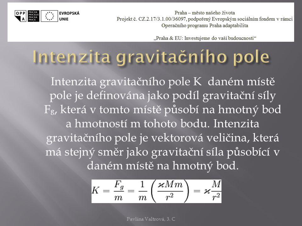 Intenzita gravitačního pole K daném místě pole je definována jako podíl gravitační síly F g, která v tomto místě působí na hmotný bod a hmotností m tohoto bodu.