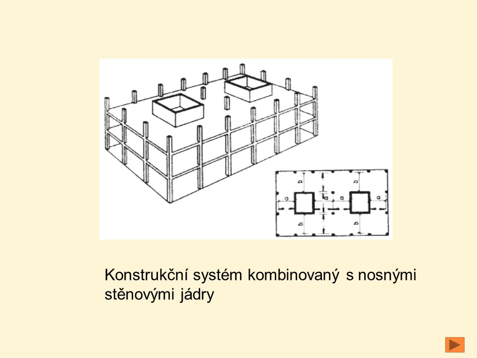 Konstrukční systém kombinovaný s nosnými stěnovými jádry