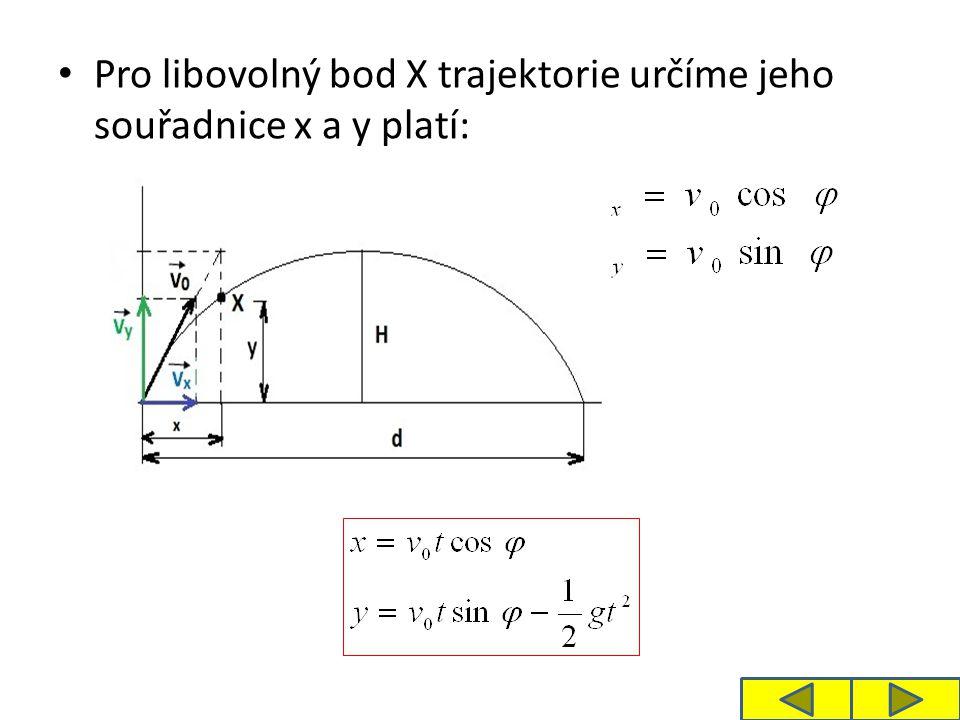 Pro libovolný bod X trajektorie určíme jeho souřadnice x a y platí: