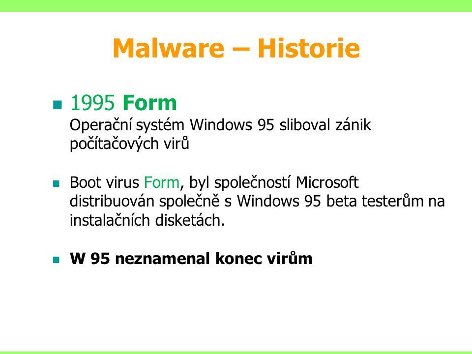 1995 Form Operační systém Windows 95 sliboval zánik počítačových virů Boot virus Form, byl společností Microsoft distribuován společně s Windows 95 be