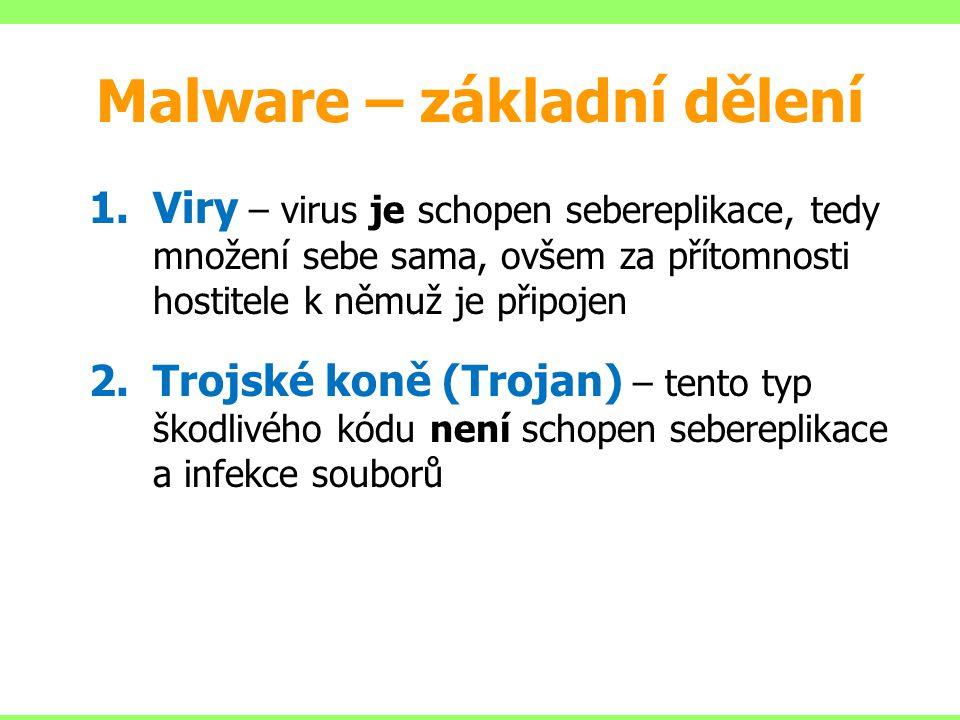 Malware – základní dělení 1.Viry – virus je schopen sebereplikace, tedy množení sebe sama, ovšem za přítomnosti hostitele k němuž je připojen 2.Trojsk