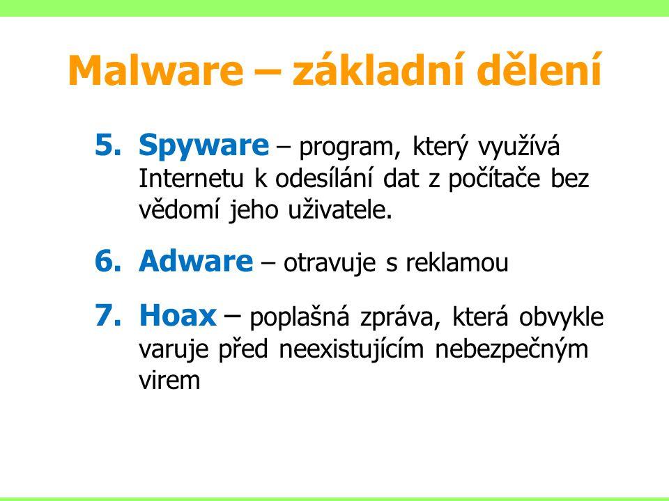 5.Spyware – program, který využívá Internetu k odesílání dat z počítače bez vědomí jeho uživatele. 6.Adware – otravuje s reklamou 7.Hoax – poplašná zp