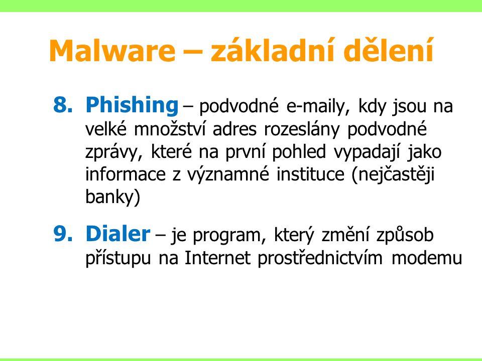 8.Phishing – podvodné e-maily, kdy jsou na velké množství adres rozeslány podvodné zprávy, které na první pohled vypadají jako informace z významné in