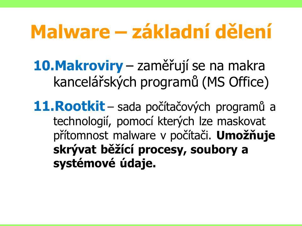 10.Makroviry – zaměřují se na makra kancelářských programů (MS Office) 11.Rootkit – sada počítačových programů a technologií, pomocí kterých lze masko