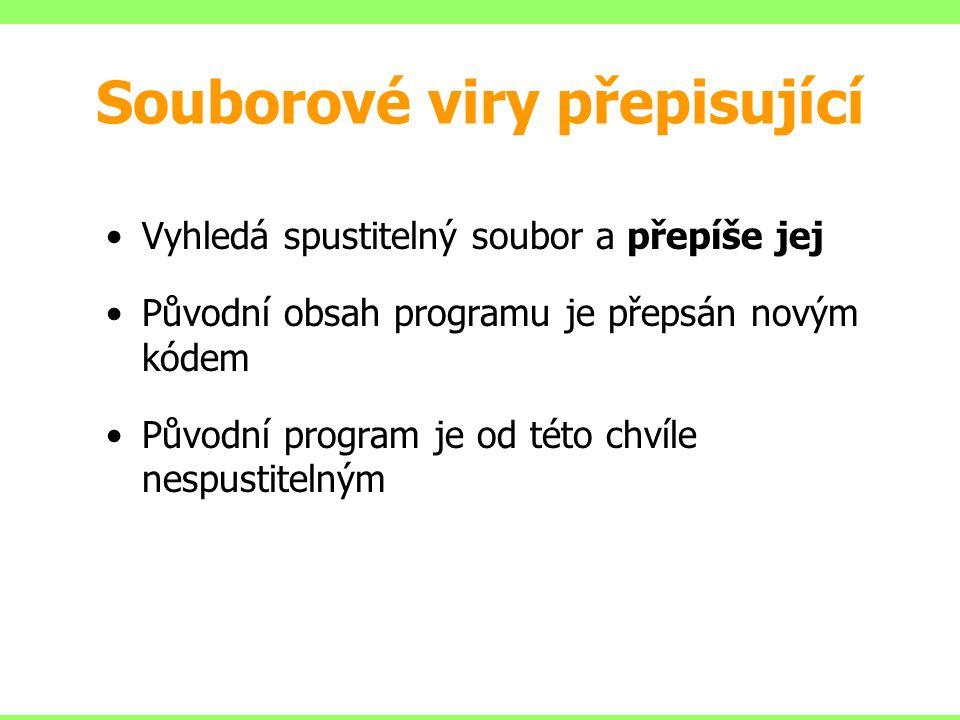 Souborové viry přepisující Vyhledá spustitelný soubor a přepíše jej Původní obsah programu je přepsán novým kódem Původní program je od této chvíle ne
