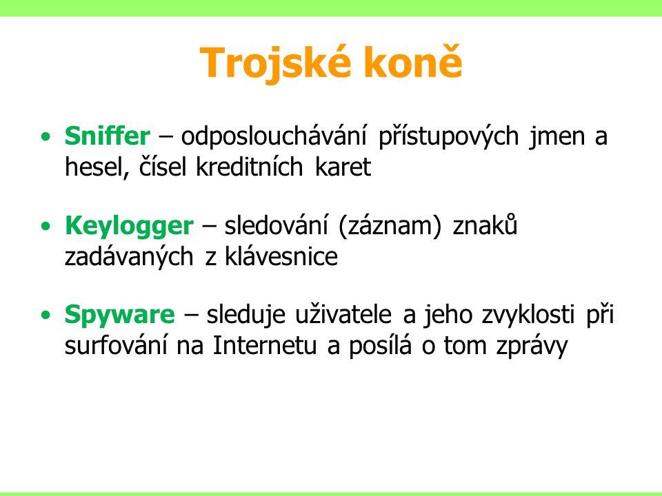 Trojské koně Sniffer – odposlouchávání přístupových jmen a hesel, čísel kreditních karet Keylogger – sledování (záznam) znaků zadávaných z klávesnice