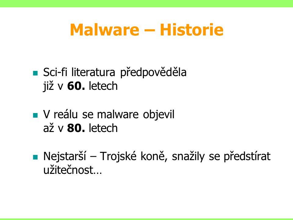 Malware – Historie Sci-fi literatura předpověděla již v 60. letech V reálu se malware objevil až v 80. letech Nejstarší – Trojské koně, snažily se pře