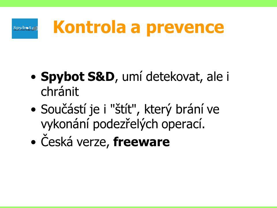 Spybot S&D, umí detekovat, ale i chránit Součástí je i