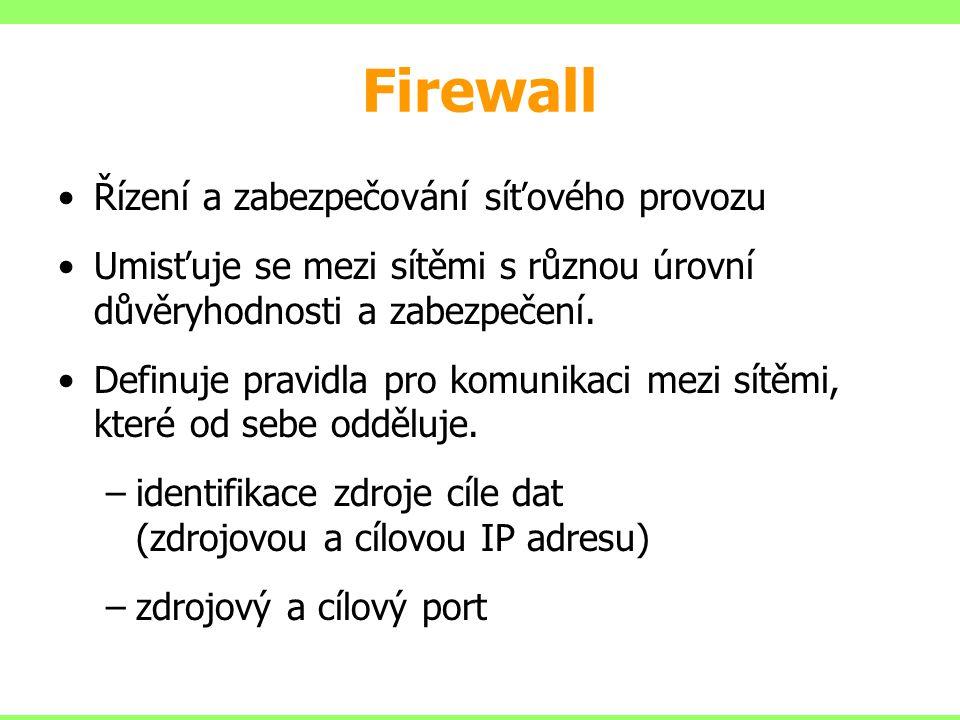 Firewall Řízení a zabezpečování síťového provozu Umisťuje se mezi sítěmi s různou úrovní důvěryhodnosti a zabezpečení. Definuje pravidla pro komunikac