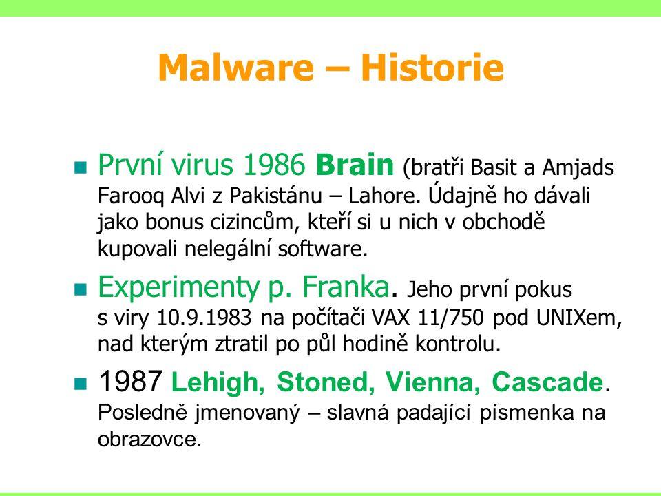 Malware – základní dělení 3.Backdoor – schovává se v počítači uživatele a čeká až se útočník se připojí přes internet na postižený počítač.