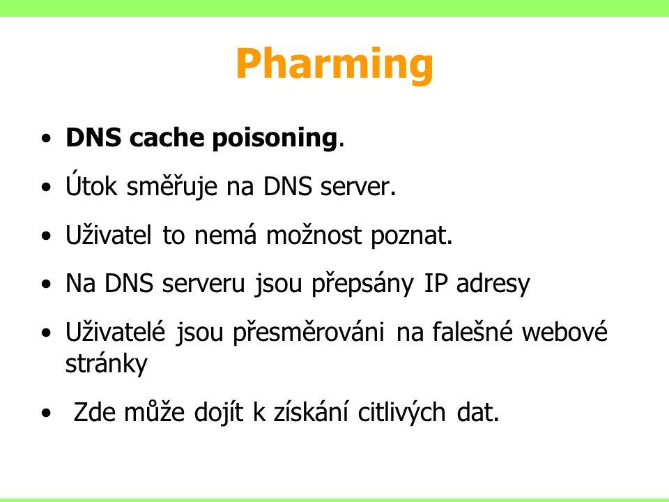 Pharming DNS cache poisoning. Útok směřuje na DNS server. Uživatel to nemá možnost poznat. Na DNS serveru jsou přepsány IP adresy Uživatelé jsou přesm
