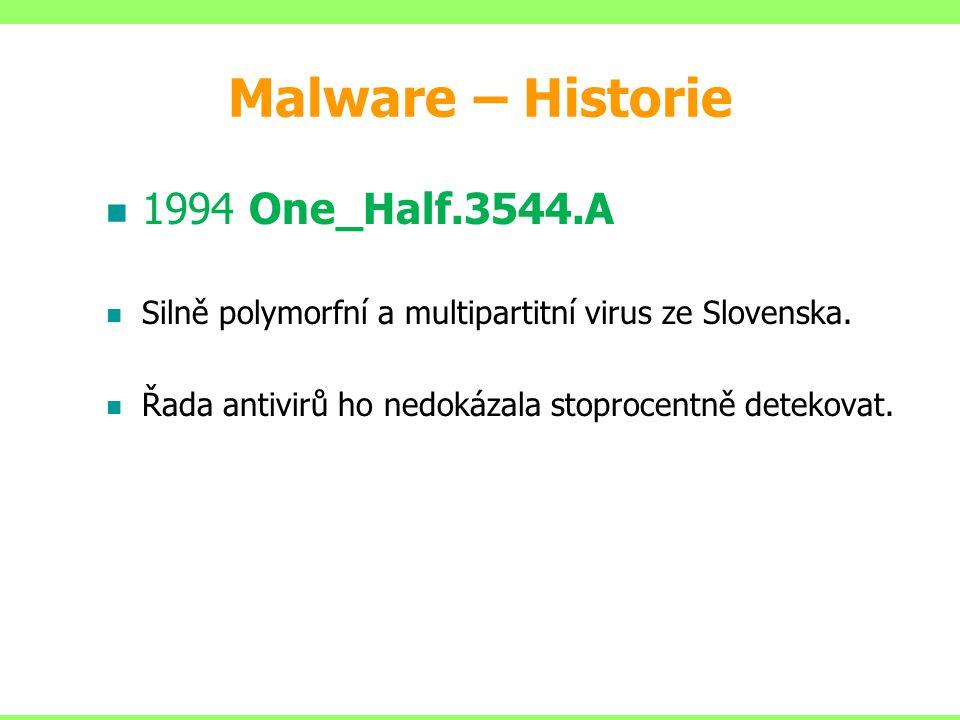1994 One_Half.3544.A Silně polymorfní a multipartitní virus ze Slovenska. Řada antivirů ho nedokázala stoprocentně detekovat. Malware – Historie
