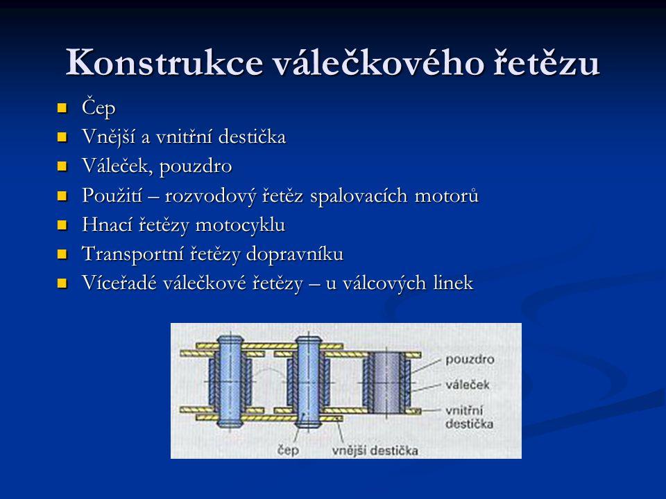 Konstrukce válečkového řetězu Čep Vnější a vnitřní destička Váleček, pouzdro Použití – rozvodový řetěz spalovacích motorů Hnací řetězy motocyklu Trans