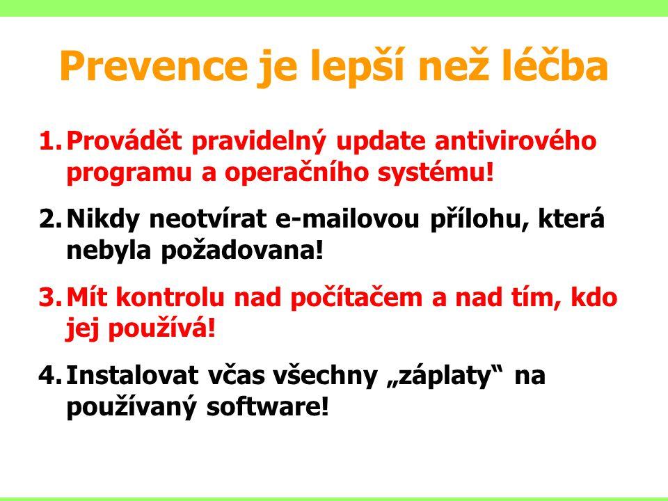Prevence je lepší než léčba 1.Provádět pravidelný update antivirového programu a operačního systému! 2.Nikdy neotvírat e-mailovou přílohu, která nebyl