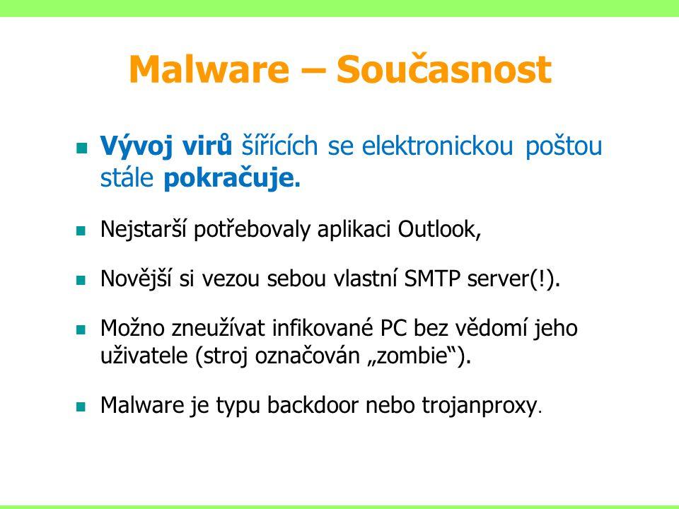 Vývoj virů šířících se elektronickou poštou stále pokračuje. Nejstarší potřebovaly aplikaci Outlook, Novější si vezou sebou vlastní SMTP server(!). Mo