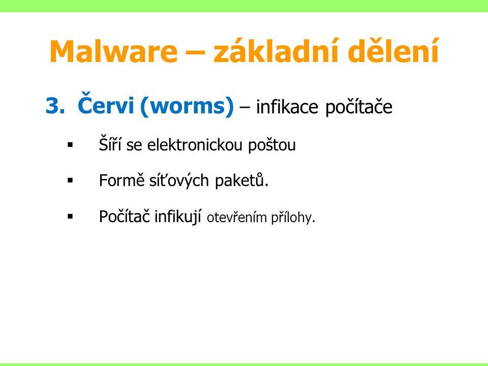 Malware – základní dělení 3.Červi (worms) – infikace počítače  Šíří se elektronickou poštou  Formě síťových paketů.  Počítač infikují otevřením pří
