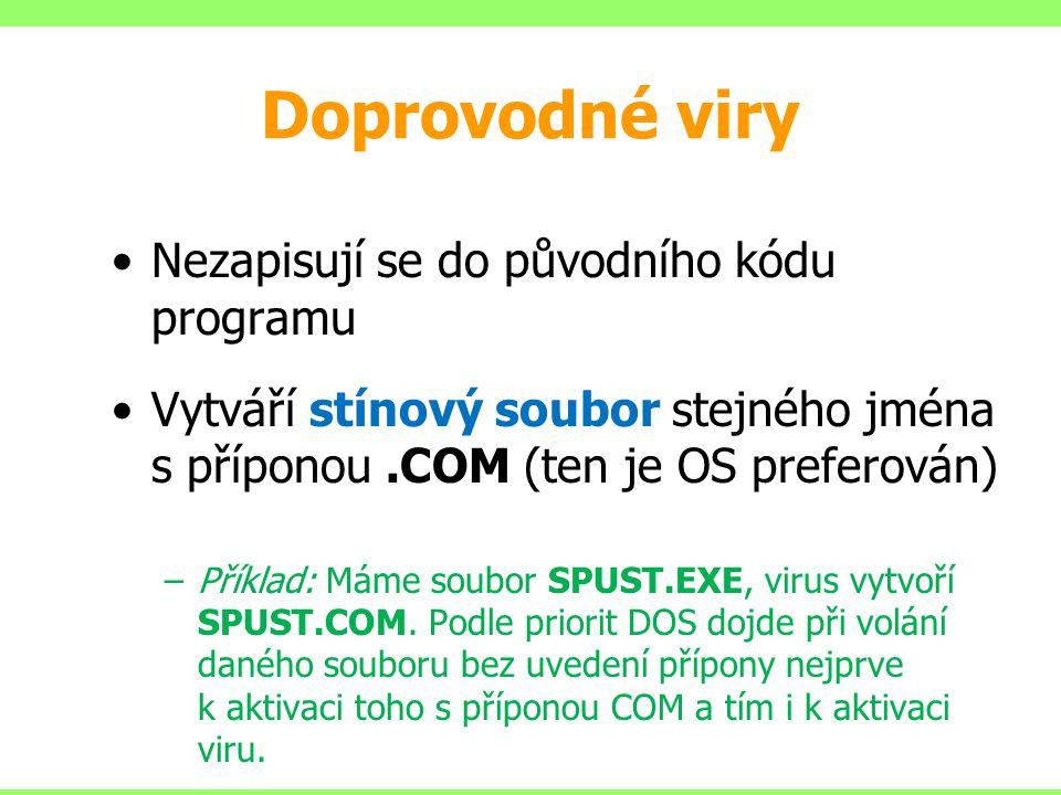 Doprovodné viry Nezapisují se do původního kódu programu Vytváří stínový soubor stejného jména s příponou.COM (ten je OS preferován) –Příklad: Máme so