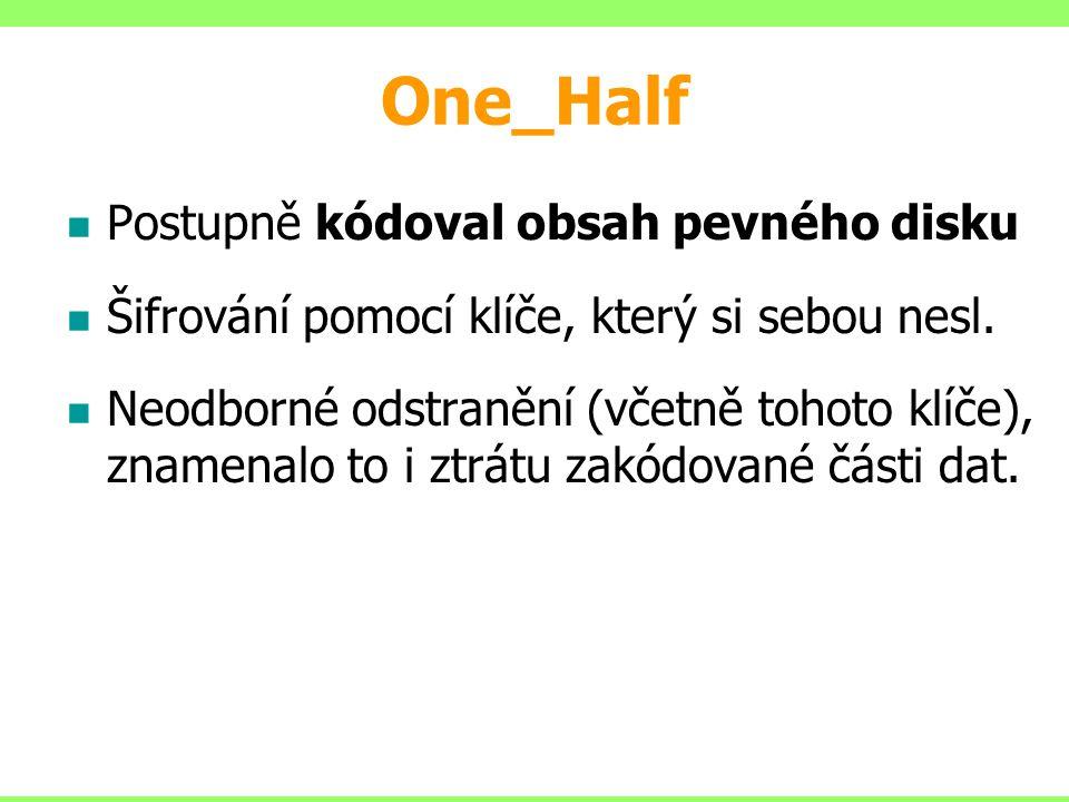 One_Half Postupně kódoval obsah pevného disku Šifrování pomocí klíče, který si sebou nesl. Neodborné odstranění (včetně tohoto klíče), znamenalo to i