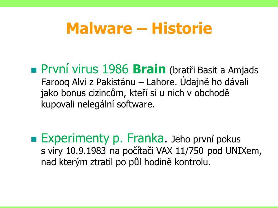 Malware – Historie První virus 1986 Brain (bratři Basit a Amjads Farooq Alvi z Pakistánu – Lahore. Údajně ho dávali jako bonus cizincům, kteří si u ni