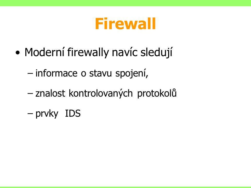 Firewall Moderní firewally navíc sledují –informace o stavu spojení, –znalost kontrolovaných protokolů –prvky IDS