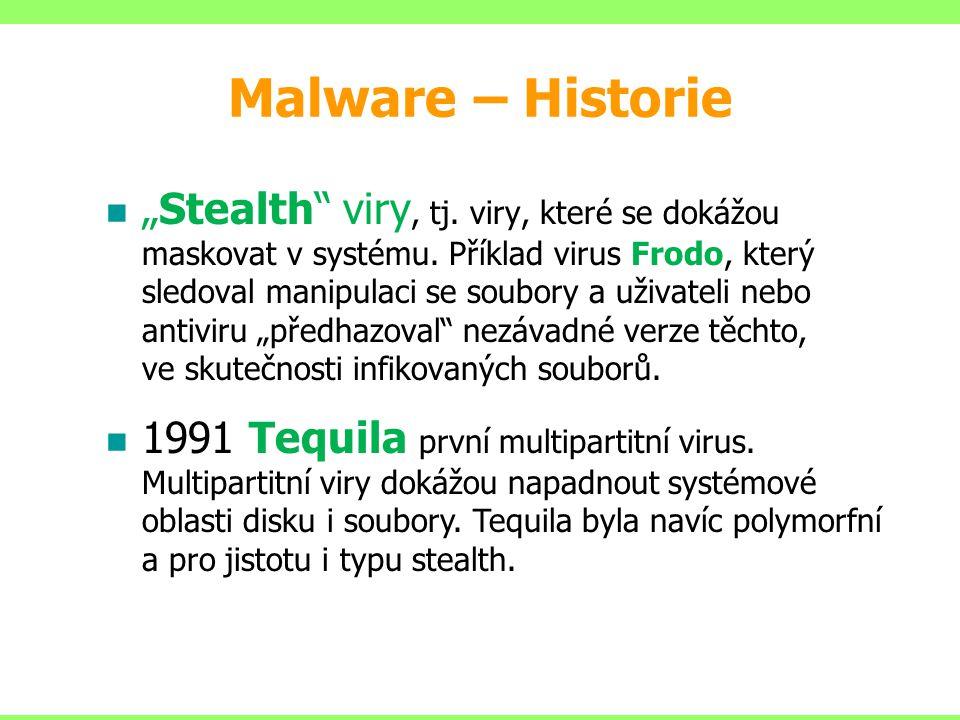 Malware – základní dělení 4.Backdoor – zadní vrátka  Otevírá přístup do počítače  Schovává se v počítači uživatele  Čeká až se útočník se připojí přes internet na postižený počítač.