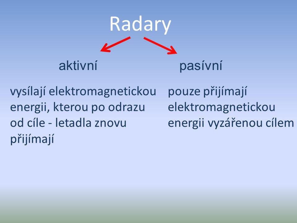 Radary aktivnípasívní vysílají elektromagnetickou energii, kterou po odrazu od cíle - letadla znovu přijímají pouze přijímají elektromagnetickou energ